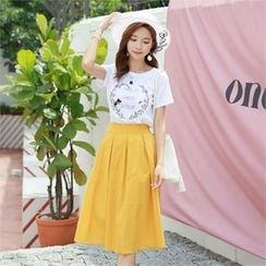 Styleonme - Band-Waist A-Line Midi Skirt