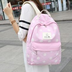 Crystal - Set: Window Pane Floral Print Backpack + Cross Body Bag + Pouch