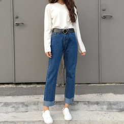 IndiGirl - Straight-Leg Cropped Jeans
