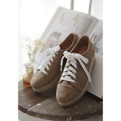 GOROKE - Lace-Up Faux-Suede Shoes