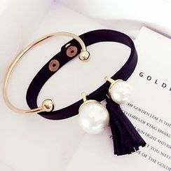 Aiyori - Set of 2: Open Bangle + Faux Pearl Tassel Bracelet