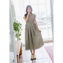 GOROKE - Cap-Sleeve Linen Long Shirtdress