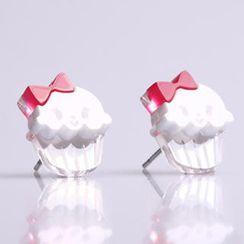 Sweet & Co. - Miss Cupcake White Stud Silver Earrings