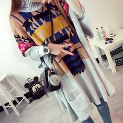PinkDAY - Turtleneck Patterned Long Sweater