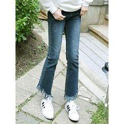 LOLOten - Banded-Waist Fringed-Hem Jeans