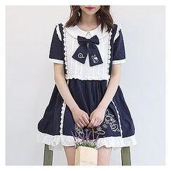 Sechuna - Peterpan-Collar Rabbit-Embroidered Babydoll Dress