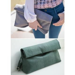 Bongjashop - Python Foldover Clutch with Shoulder Strap