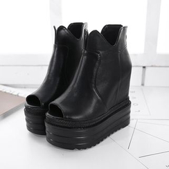Anran - Peep Toe Platform Wedge Ankle Boots