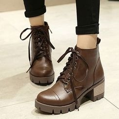 Gizmal Boots - Platform Lace Up Short Boots