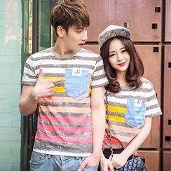 LYSTUN - Couple Matching Stripe Short-Sleeve T-Shirt