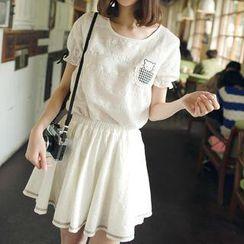 微米家 - 套装:短袖蕾丝上衣 + A字裙
