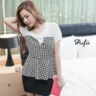 PUFII - Chiffon-Panel Houndstooth Peplum Top