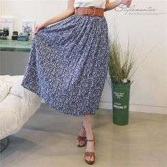 Stylementor - Inset Wide-Belt Floral Long Skirt