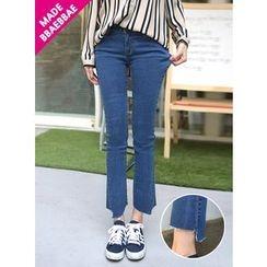 BBAEBBAE - Asymmetric-Hem Straight-Cut Jeans