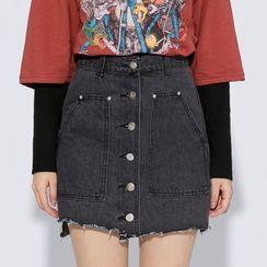 Heynew - Buttoned Denim Skirt