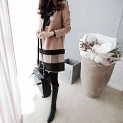 DAILY LOOK - Checked-Hem Wool Blend Knit Dress