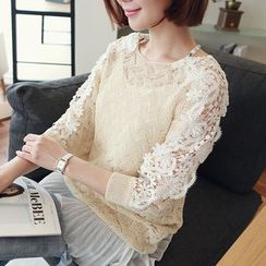 CLICK - Laced Batwing-Sleeve Open-Knit Top