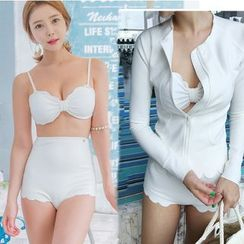 Jumei - Set: Bow High Waist Bikini + Scallop Hem Zip Jacket