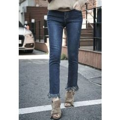 REDOPIN - Fringed-Hem Washed Jeans