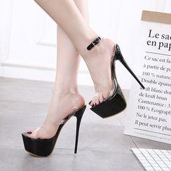 Anran - Transparent Strap High Heel Sandals
