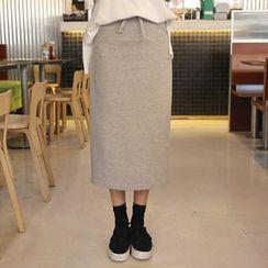 Envy Look - Drawstring-Waist Slit-Back Long Skirt