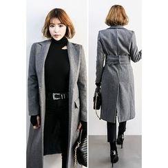 INSTYLEFIT - Peaked-Lapel Wool Blend Coat with Belt