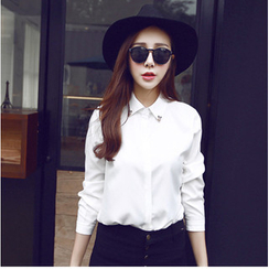 Bubbleknot - Embellished Collar Long-Sleeve Shirt