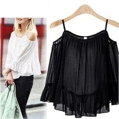 LIVA GIRL - 3/4-Sleeve Shoulder Cut Out Chiffon Top