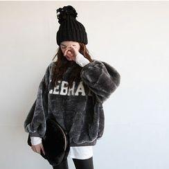 NIPONJJUYA - Balloon-Sleeve Lettering Faux-Fur Pullover