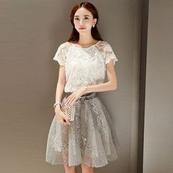 Romantica - Set: Lace Top + A-Line Skirt