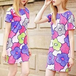 BOHIN - Floral Print Short-Sleeve Chiffon Dress