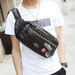 BagBuzz - Embellished Faux Leather Waist Bag