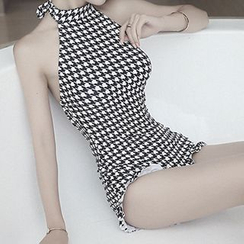 Moonrise Swimwear - Houndstooth Halter Swimsuit