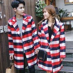 Bay Go Mall - Couple Matching Plaid Notch Lapel Coat