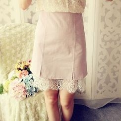 Cobblestone - Lace-Trim A-Line Skirt