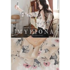 MyFiona - Ruffled-Trim Floral-Pattern Blouse
