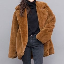 chuu - Notched-Lapel Diagonal-Zip Faux-Fur Jacket