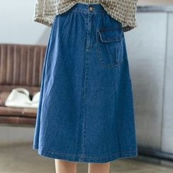 MIKPO - Pocketed Midi A-Line Denim Skirt