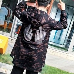 Bay Go Mall - Printed Camo Hooded Coat