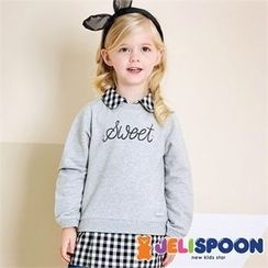 JELISPOON - Kids Inset Gingham Shirt Sweatshirt