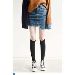 QQQQ - Asymmetric-Hem Denim Mini Skirt