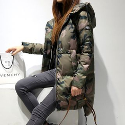 Romantica - Hooded Camouflage Puffer Coat