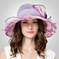 BADA - 桑蚕丝可折叠花朵遮阳帽
