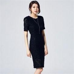 MAGJAY - Short-Sleeve Zip-Up Laced Dress