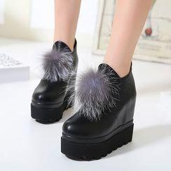 安若 - 球球裝飾厚底內增高輕便鞋