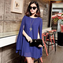 Romantica - Cape-Sleeve Chiffon Dress