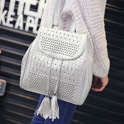 miim - Tasseled Studded Woven Backpack