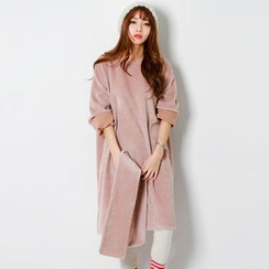 FASHION DIVA - Coral-Fleece Pullover Dress with Scarf