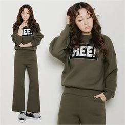 clicknme - Set: Lettering Sweatshirt + Band-Waist Pants