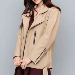 chuu - Belted Faux-Leather Biker Jacket